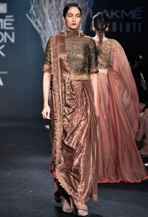 brown-sari-gown-with-cutdana-embroidered-blouse