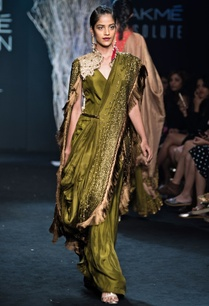 forest-green-pre-draped-sari