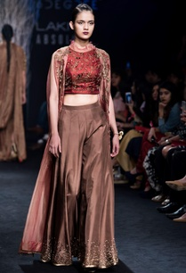 brown-embroidered-blouse-with-silk-sharara-pants