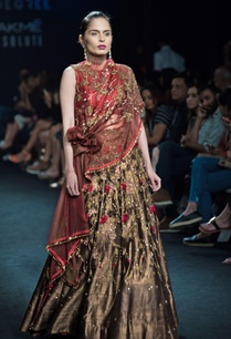 brown-forest-green-lehenga-with-draped-knot-blouse