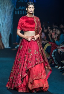 red-asymmetrical-lehenga-with-organza-dupatta