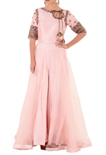 pink-thread-knot-kurta-with-flared-pants