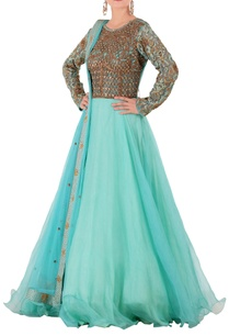 blue-green-anarkali