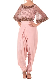 rose-pink-kurta-with-draped-dhoti-pants
