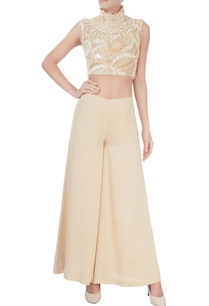 white-beige-bead-embellished-crop-top