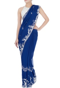 blue-ivory-border-sari-white-blouse