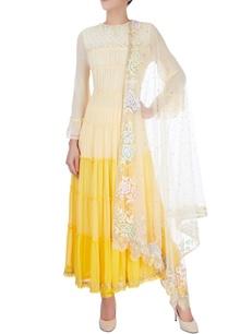yellow-tiered-kurta-set