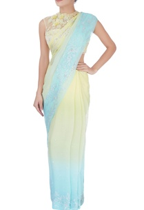 blue-yellow-sequin-embellished-sari