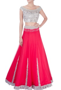watermelon-red-ruffle-lace-lehenga-blouse