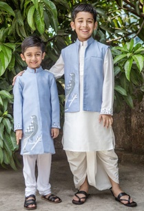 scabiosa-blue-jacket-white-dhoti-set