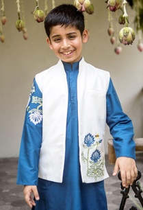aegean-blue-kurta-jacket-churidar-set