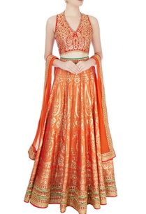 red-orange-embellished-lehenga-set