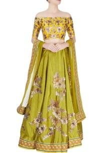 mustard-yellow-mehendi-green-embellished-lehenga-set