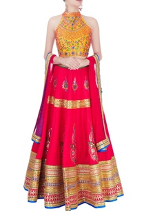 mustard-yellow-red-embellished-lehenga-set