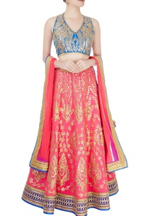 hot-pink-blue-embellished-lehenga-set