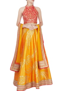 red-mustard-yellow-embellished-lehenga-set