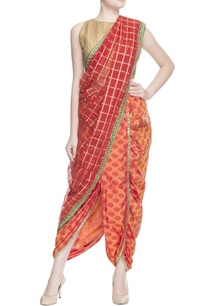 red-striped-sari-with-blouse-piece