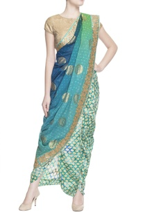 blue-green-sari-with-blouse-piece