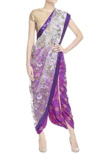 purple-floral-print-sari-with-blouse-piece