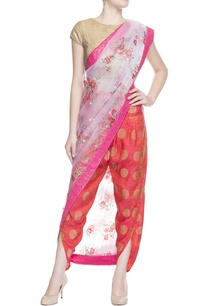 pink-floral-print-sari-with-blouse-piece