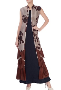 brown-beige-pleated-maxi-dress
