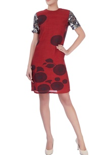 red-short-dress-with-sequin-embellishments