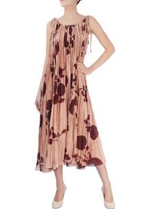 beige-pleated-midi-dress