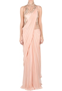 peach-high-neck-embellished-sari-gown