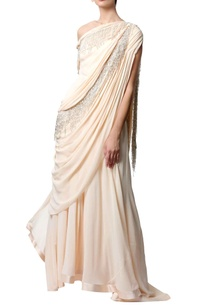 peach-off-shoulder-sari-gown