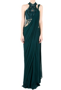 forest-green-embroidered-sari-gown