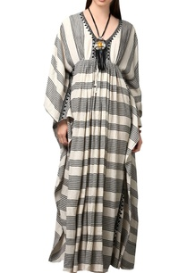 cream-black-kaftan-maxi-dress