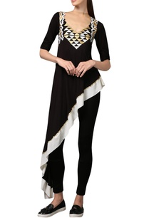 black-asymmetric-applique-work-tunic