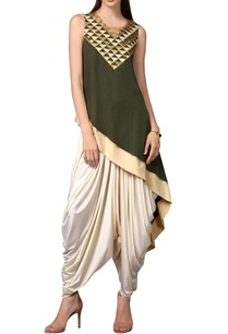 olive-green-asymmetric-tunic