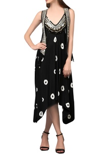 black-embellished-midi-dress