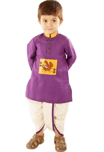 purple-bug-kurta-white-dotted-dhoti