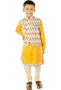 mango-yellow-kurta-with-ikkat-jacket-churidar
