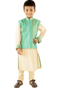 cream-kurta-with-sea-green-jacket-churidar