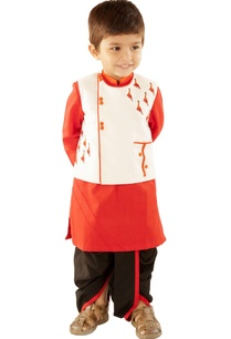 red-kurta-with-black-dhoti-jacket