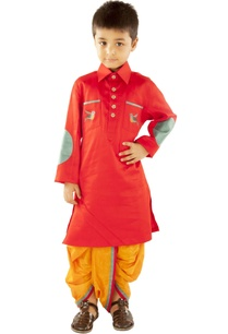 red-bird-kurta-with-mustard-dhoti