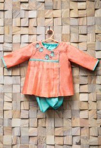 peach-kurta-with-turquoise-blue-dhoti