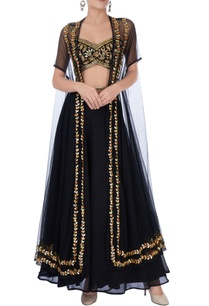black-and-gold-embroidered-palazzo-set