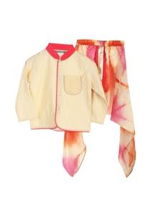 cream-bandhgala-with-dyed-dhoti-pants