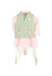 pastel-pink-kurta-with-jacket-dhoti