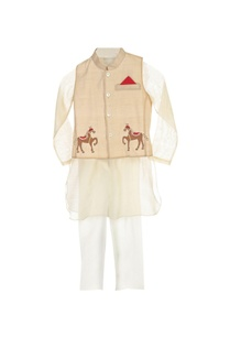 white-kurta-pyjama-with-beige-jacket
