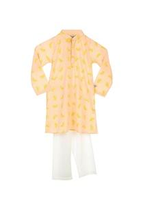 peach-lemon-print-kurta-pyjamas
