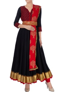 black-red-anarkali-set