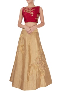 light-gold-red-lehenga-set
