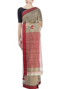 taupe-red-sari-with-embroidery