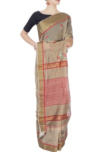 grey-red-sari-with-embroidery