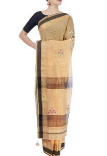 beige-black-sari-with-embroidery